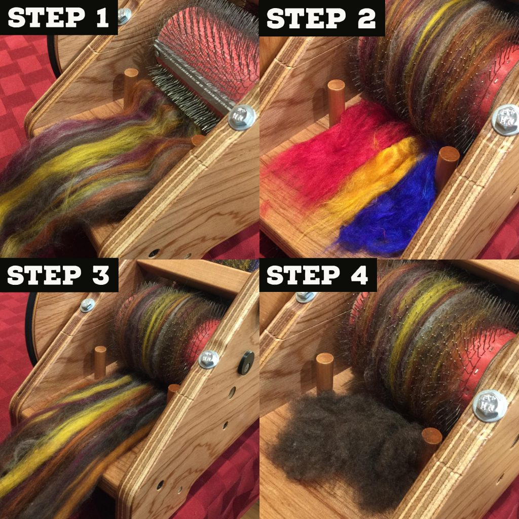 Loading the Drum Carder with Each Fiber included in October's Fiber Club Box.