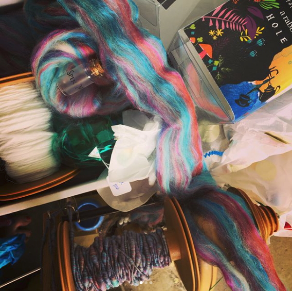 pinkytrussellSometimes the #unboxing gets forgotten because the content was so amazing!! This months #fiberbox from @paradisefibers is so pretty I had to #corespin it!! Love my monthly fiber surprises from them:)